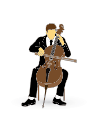 soloist: Cello player graphic vector. Illustration