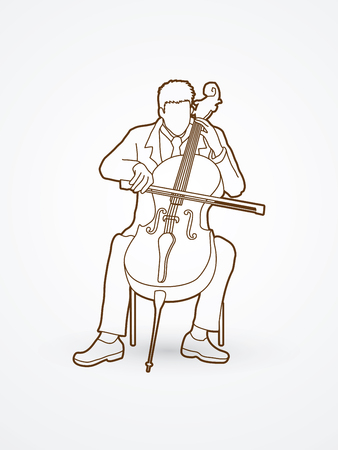 Cello player outline graphic vector.