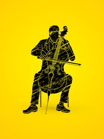 Cello player designed using black grunge brush graphic vector.
