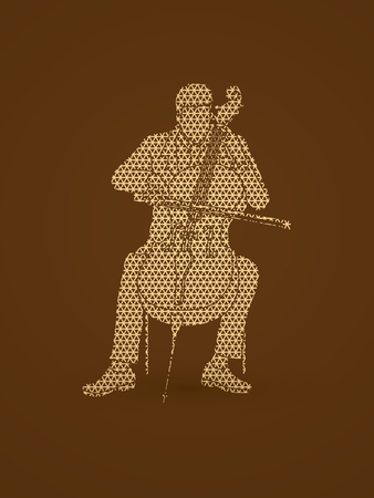 Cello player designed using geometric pattern graphic vector.