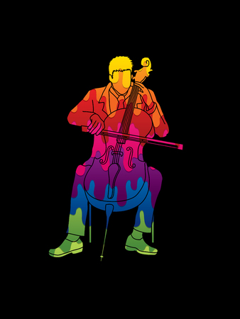 Cello player designed using melt colors graphic vector.