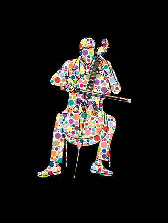 Cello player designed using colorful halftone pattern graphic vector. Illustration