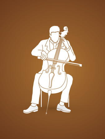 symphonic: Cello player graphic vector. Illustration