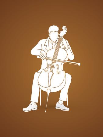 rehearsal: Cello player graphic vector. Illustration