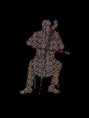 Cello player designed using colorful mosaic pattern graphic vector. Illustration