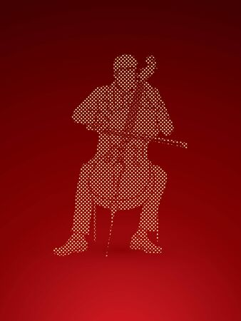 Cello player designed using dots pixels graphic vector. Illustration