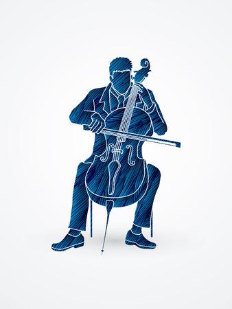 Cello player designed using blue grunge brush graphic vector. Illustration