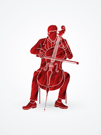 cellist: Cello player designed using red grunge brush graphic vector.