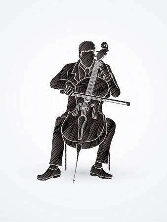 rehearsal: Cello player designed using grunge brush graphic vector.