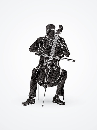 Cello player designed using grunge brush graphic vector.