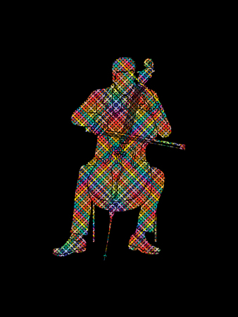 soloist: Cello player designed using colorful pixels graphic vector.