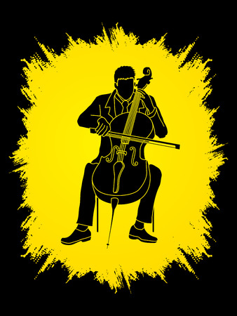 rehearsal: Cello player designed on grunge frame background graphic vector. Illustration