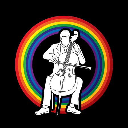 cellist: Cello player designed on line rainbows background graphic vector. Illustration