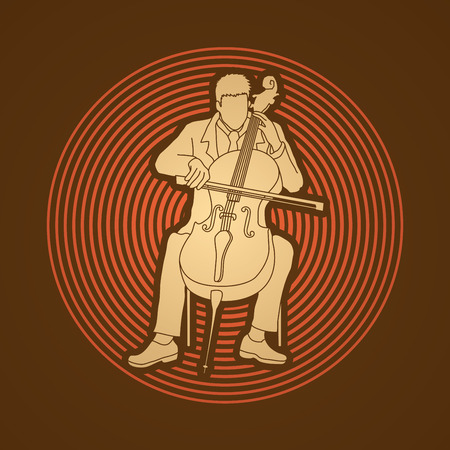 soloist: Cello player designed on circle light background graphic vector.