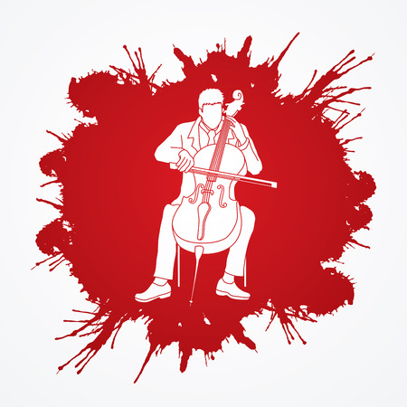 rehearsal: Cello player designed on splash color background graphic vector.