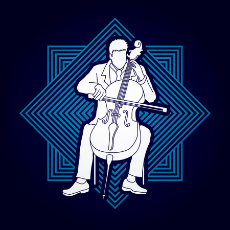 soloist: Cello player designed on line square background graphic vector.