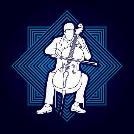 Cello player designed on line square background graphic vector.
