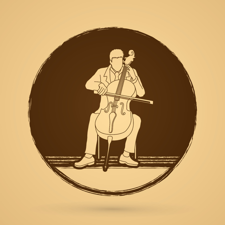 Cello player designed on grunge circle background graphic vector.