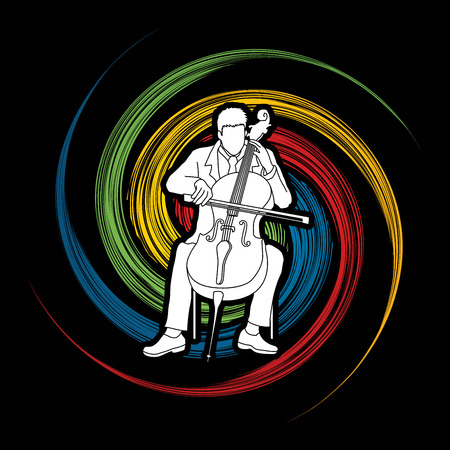 Cello player designed on spin wheel background graphic vector.