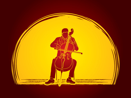 rehearsal: Cello player designed on moonlight background graphic vector.