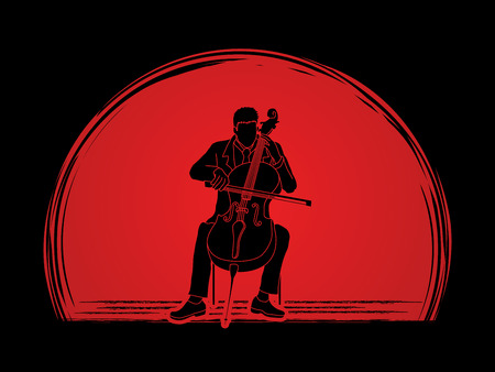 rehearsal: Cello player designed on sunset background graphic vector. Illustration
