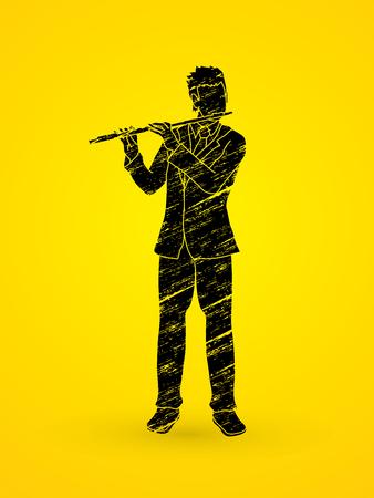 professional flute: Flute player designed using grunge brush graphic vector. Illustration
