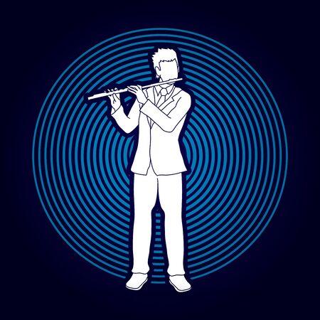 professional flute: Flute player designed on light circle background graphic vector. Illustration