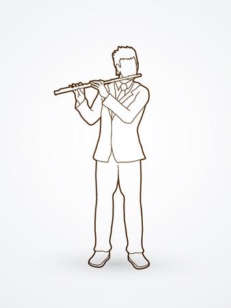 professional flute: Flute player outline graphic vector. Illustration