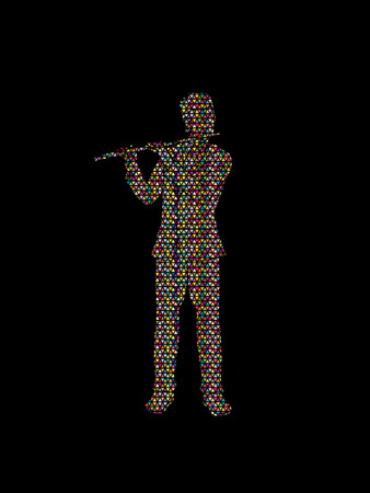 Flute player designed using colorful mosaic pattern graphic vector.