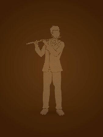 professional flute: Flute player designed using golden dots pixels graphic vector. Illustration