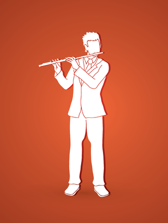 professional flute: Flute player graphic vector.
