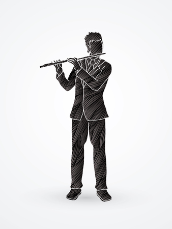 Flute player designed using back grunge brush graphic vector.