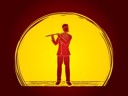 professional flute: Flute player designed on moonlight background graphic vector. Illustration