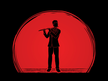 professional flute: Flute player designed on sunset background graphic vector.