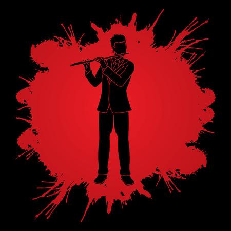 professional flute: Flute player designed on splatter blood background graphic vector. Illustration