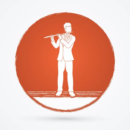 professional flute: Flute player designed on grunge cycle background graphic vector.