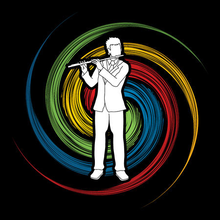 Flute player designed on spin wheel background graphic vector. Illustration