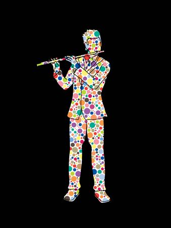 professional flute: Flute player designed using colorful halftone pattern graphic vector.
