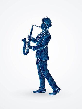 Saxophone player designed using blue grunge brush graphic vector.