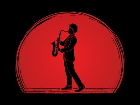 Saxophone player designed on sunlight background graphic vector. Illustration