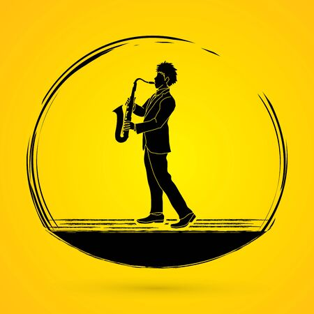 Saxophone player graphic vector.