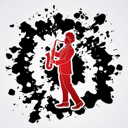 Saxophone player designed on splatter ink background graphic vector. Illustration