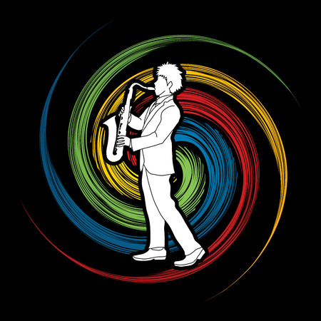 Saxophone player designed on spin wheel background graphic vector.