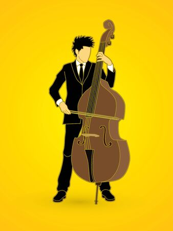 bass player: Double bass player graphic vector.