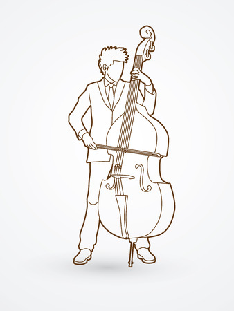 bass player: Double bass player outline graphic vector.