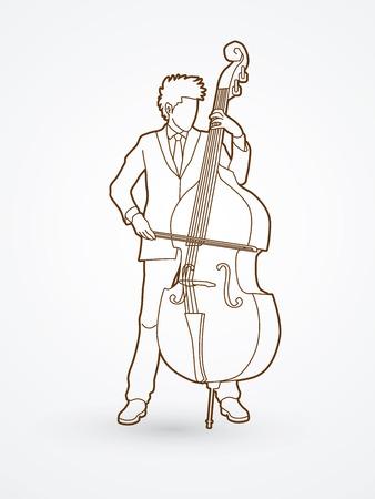 Double bassiste legende vecteur graphique. Banque d'images - 63338873