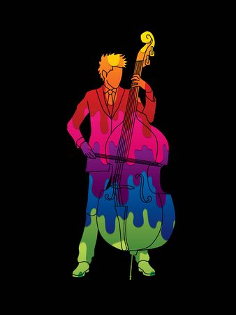 bass player: Double bass player designed using melt colors graphic vector.