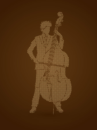 bass player: Double bass player designed using dots pixels graphic vector.