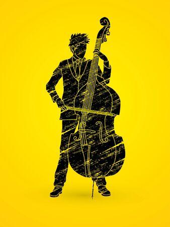 Double bass player designed using black grunge brush graphic vector. Illustration
