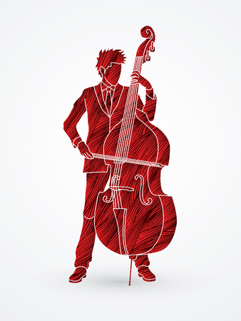 bass player: Double bass player designed using red grunge brush graphic vector.